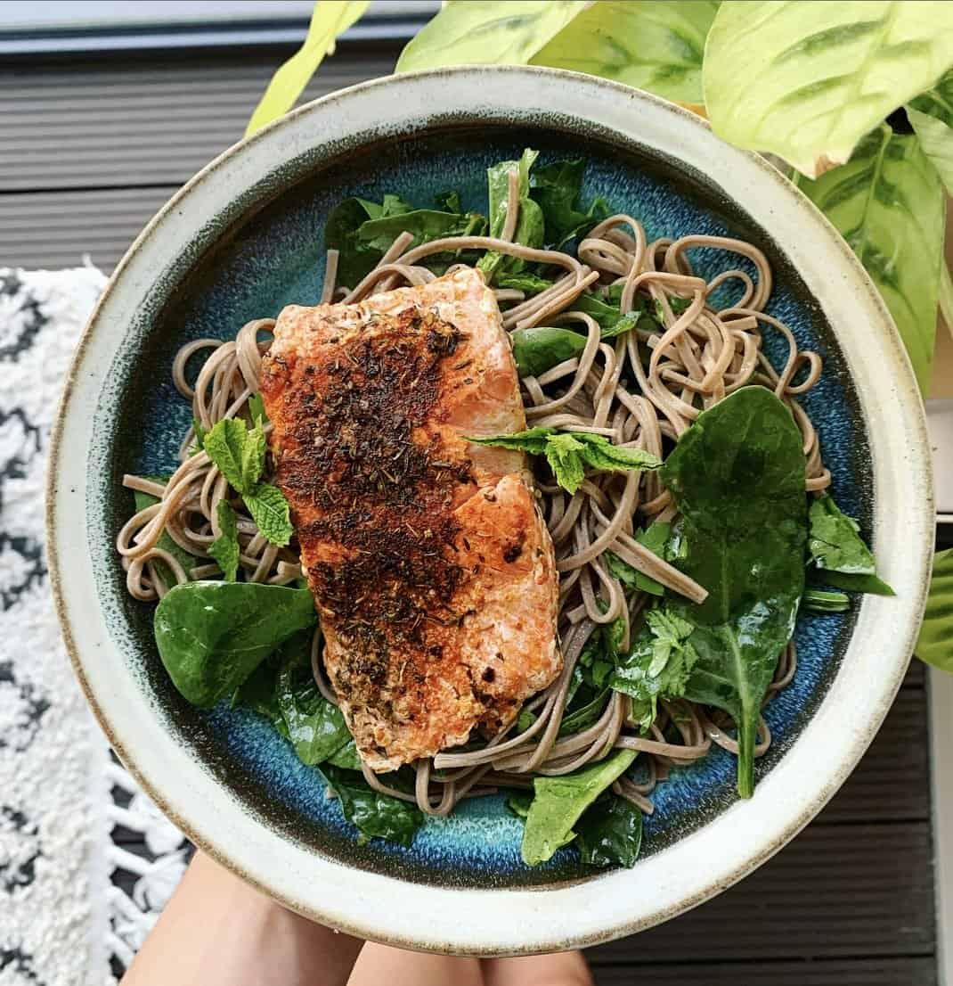 salmon soba noodle bowl mint