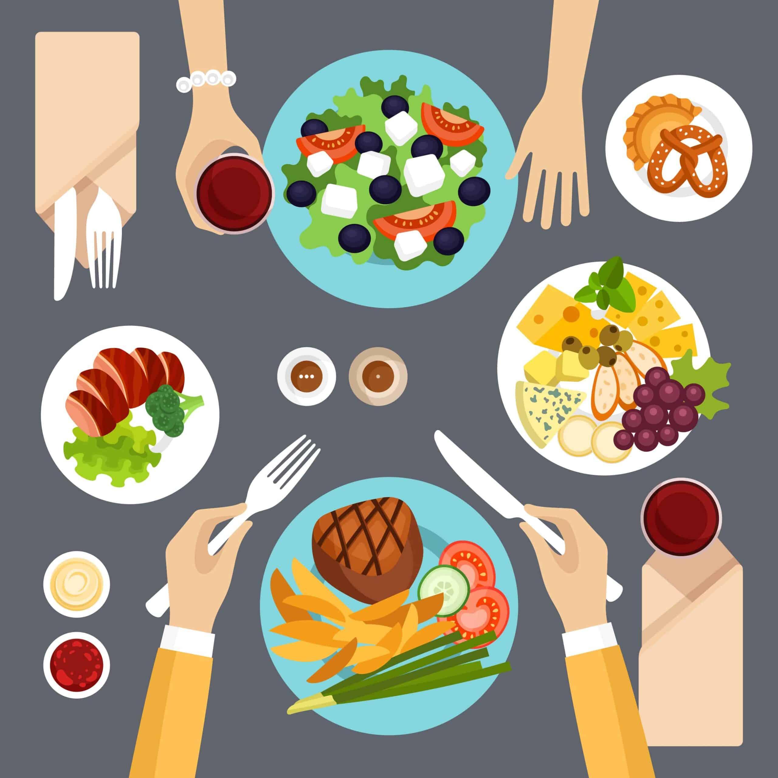 woman salad man steak diet