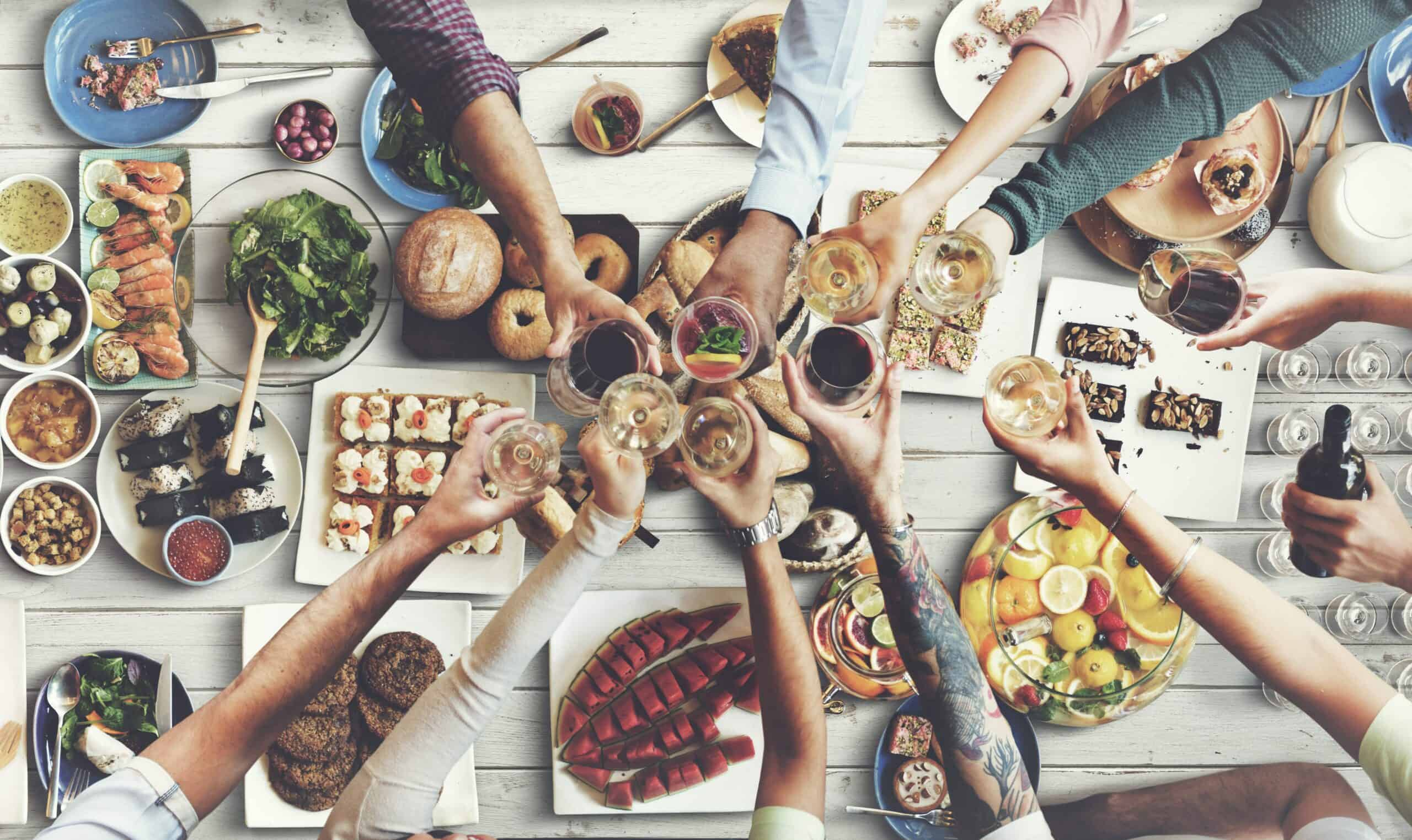 friends joy eating dining happiness intuitive eating